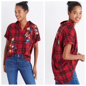 NWT Madewell Central Embroidered Plaid Shirt Red M